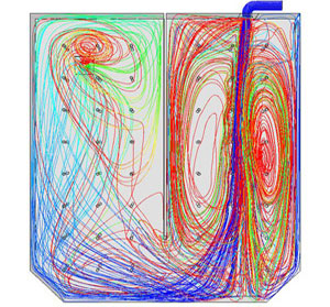 Particle Tracks Colored by Residence Time